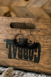 Tonks Black Beaded Hoop Earrings