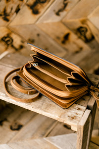 Eldridge Tooled Leather Organized Clutch/Crossbody Bag
