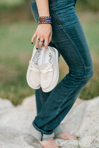 Dilly Dally Cream Canvas Slip-On Shoes