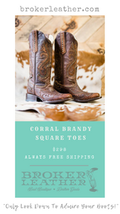 Corral Studded Square Toe Brandy Boots