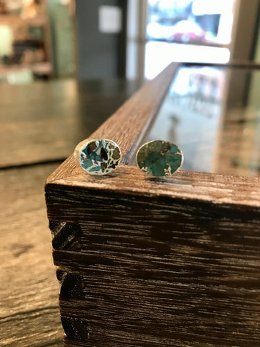 Belgrade Genuine Turquoise Earring Studs [White Gold]