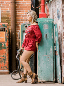 Ronnie Red Embroidered Romper
