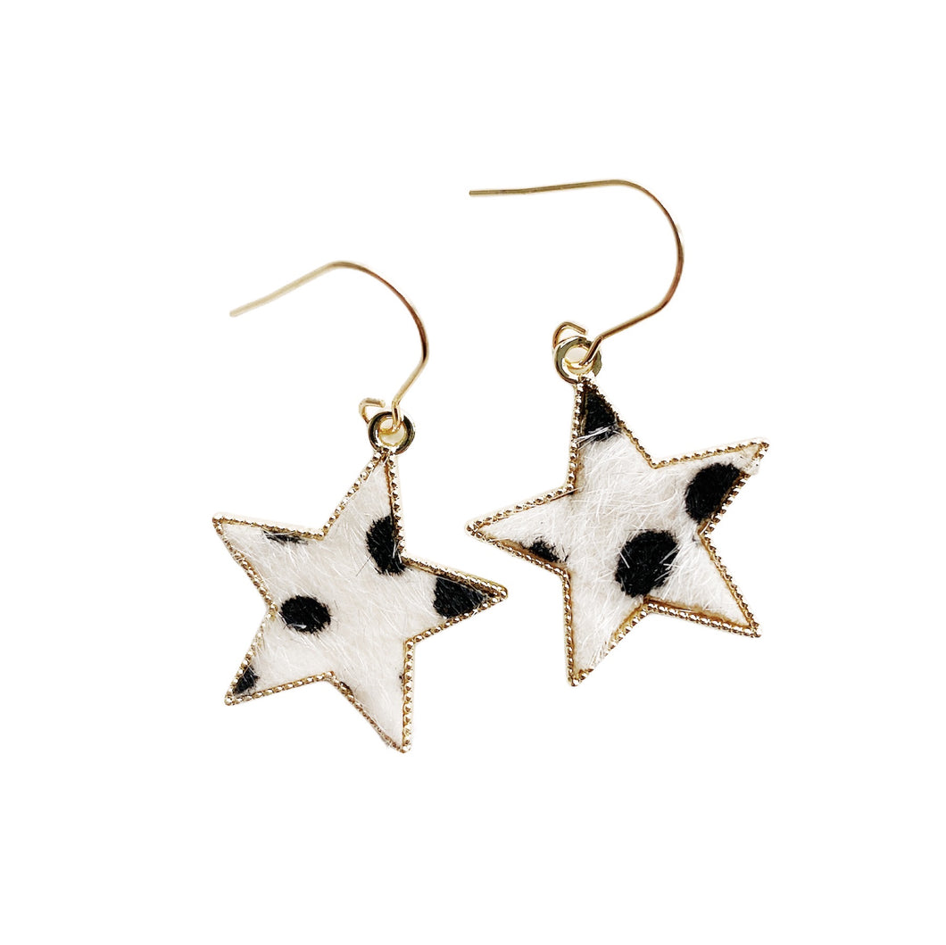 Cow Print Star Earrings