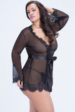 Elegant Lace Sheer Robe BLACK