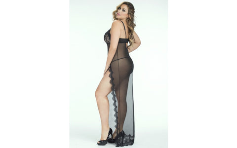 Sheer Lace Gown Floorlength
