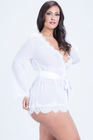 Elegant Lace Sheer Robe WHITE