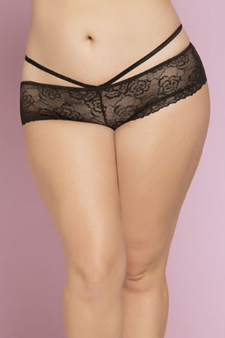 Bianca Rose Galloon Lace Knicker Black&Burgundy
