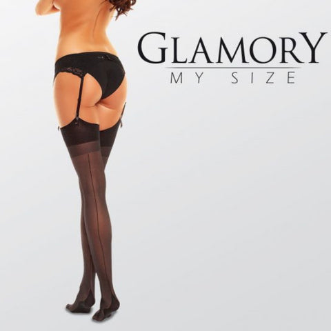 Glamory Plus seamed stockings Black