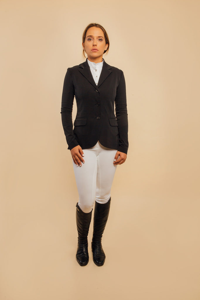 Camille Black Show Jacket and Black/Silver Piping