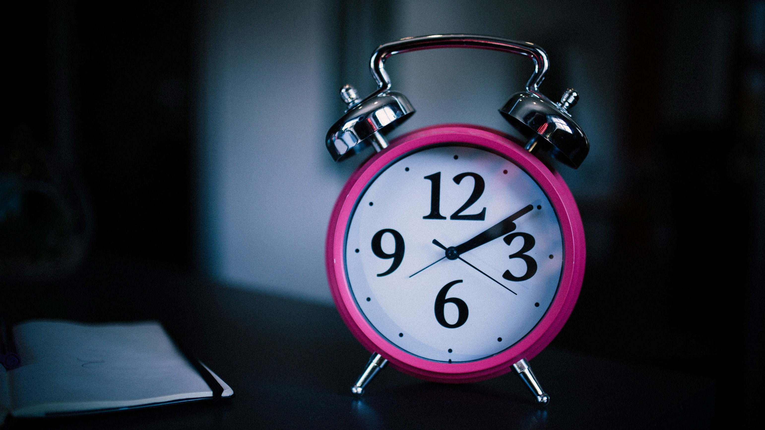 pink and white clock