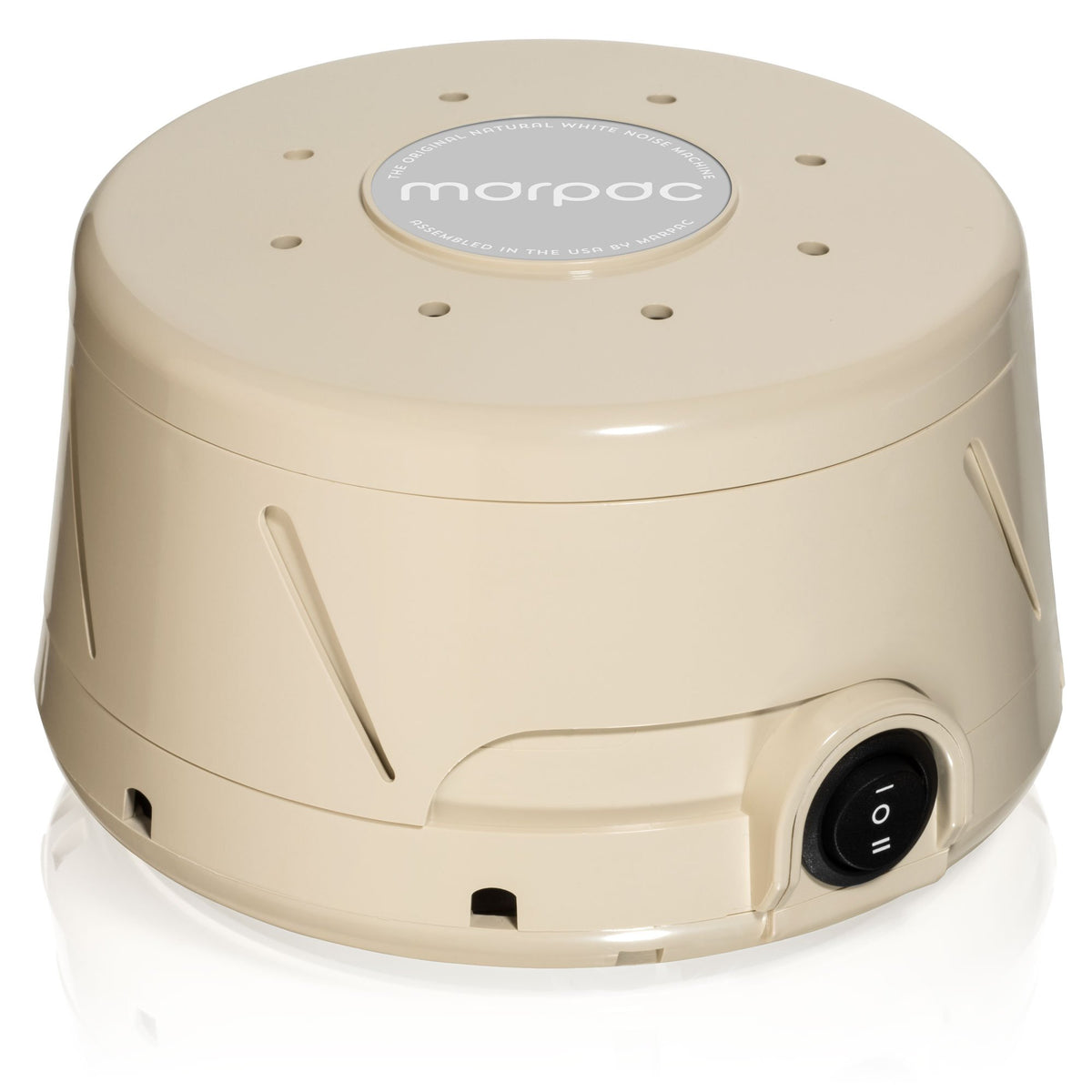 Dohm Classic Natural Sleep Sound Machine from Yogasleep - side view in tan