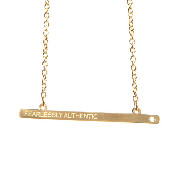 FEARLESSLY AUTHENTIC GOLD BAR NECKLACE  - Jaeci Jewlery