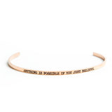 Anything is Possible If You Just Believe Bangle  - Jaeci Jewlery