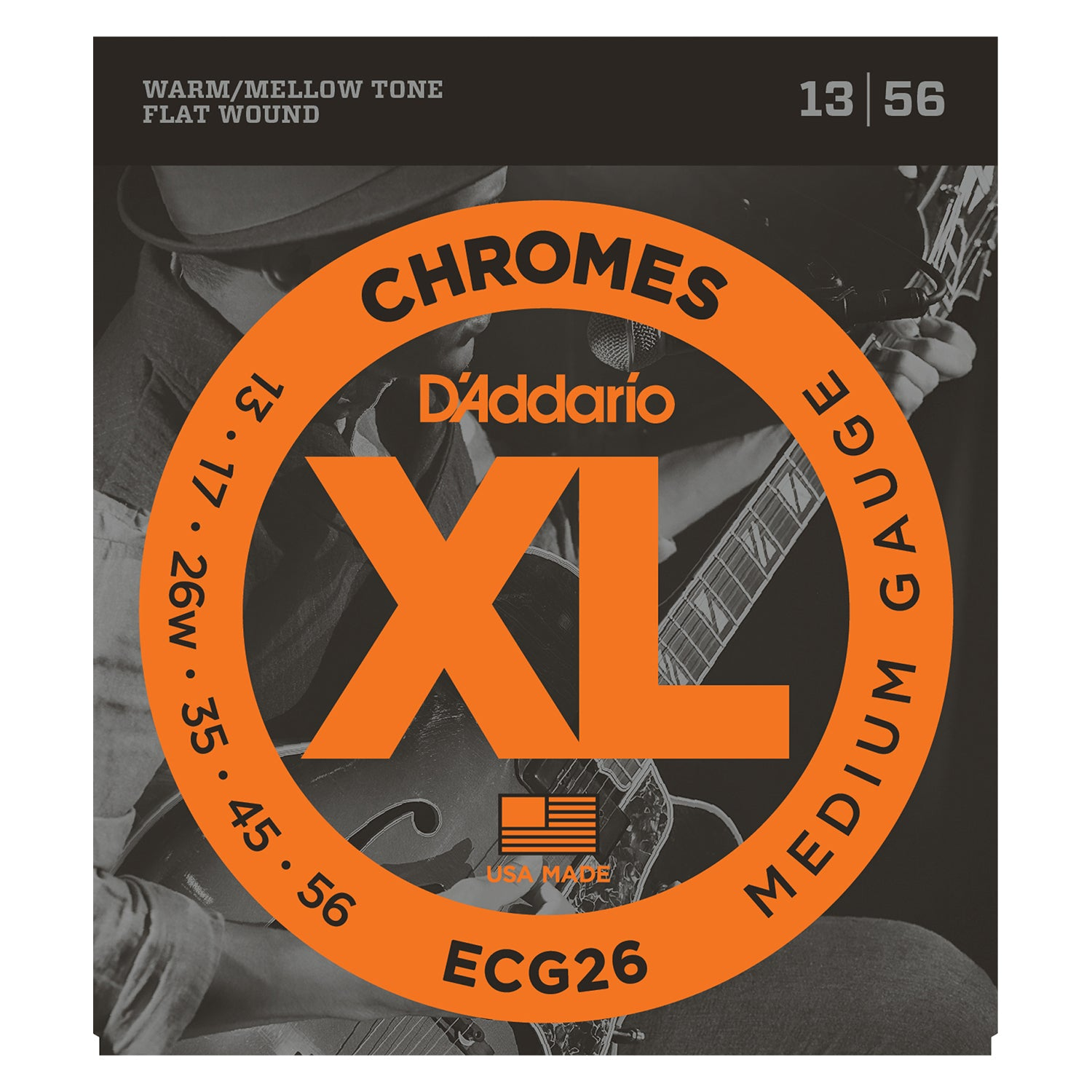 D'Addario ECG26 Chromes Flat Wound Electric Guitar Strings, Medium, 13-56