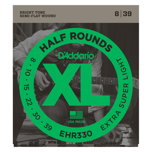 D'Addario EHR330 Half Round Electric Guitar Strings, Extra-Super Light, 8-39