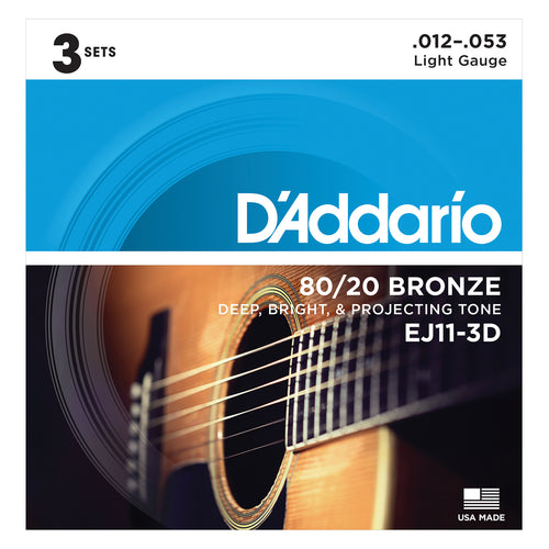 D'Addario EJ11-3D 80/20 Bronze Acoustic Guitar Strings, Light, 12-53, 3 Sets
