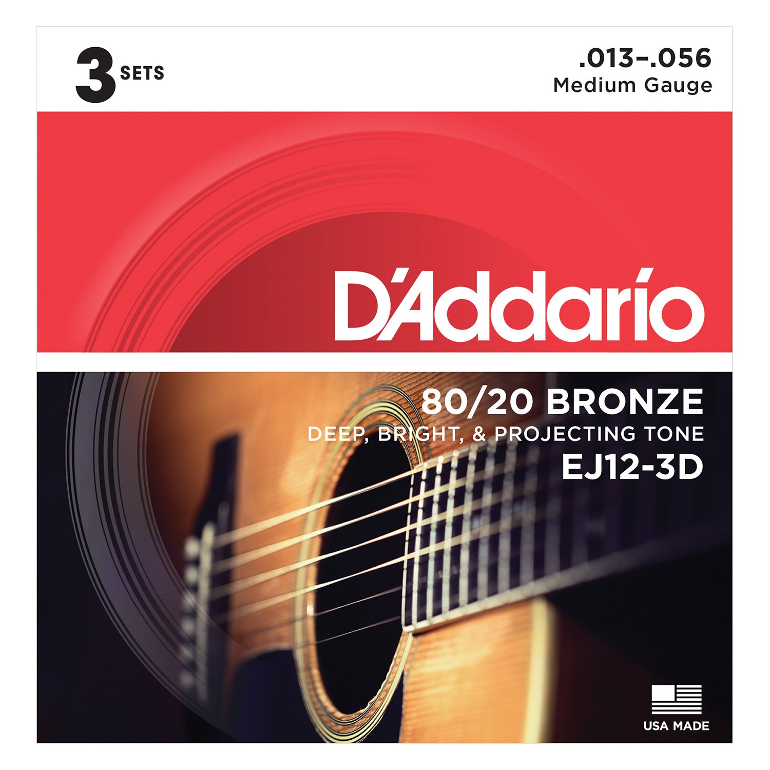D'Addario EJ12-3D 80/12 Bronze Acoustic Guitar Strings, Medium, 13-56, 3 Sets