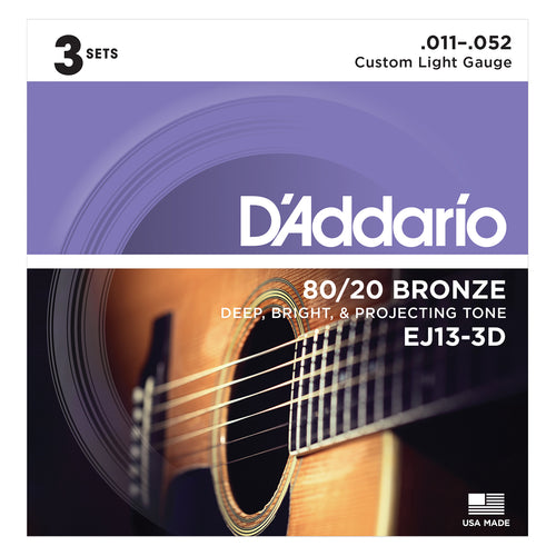 D'Addario EJ13-3D 80/20 Bronze Acoustic Guitar Strings, Custom Light, 11-52, 3 Sets