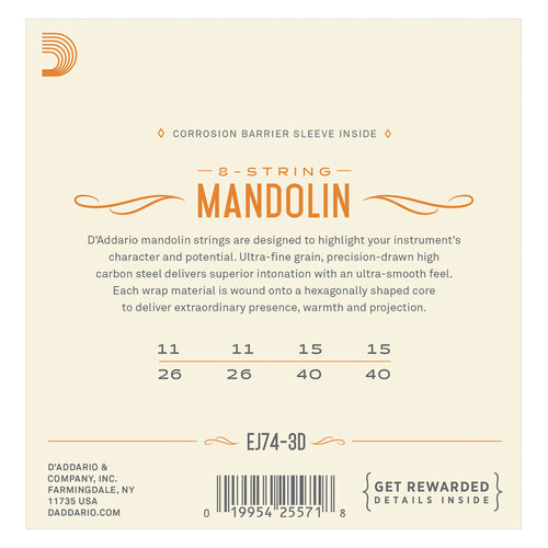 D'Addario EJ74-3D Mandolin Strings, Phosphor Bronze, Medium, 11-40, 3 Sets