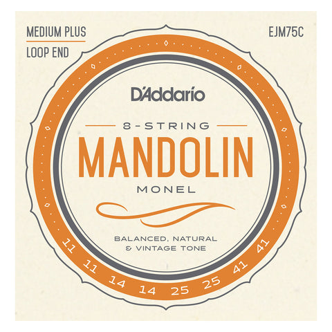 D'Addario EFW74 Flatwound Mandolin Strings, Phosphor Bronze, Medium, 11-36