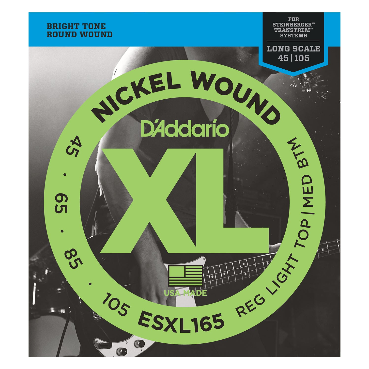 D'Addario ESXL165 Nickel Wound Bass Guitar Strings, Medium, 50-105, Double Ball End, Long Scale