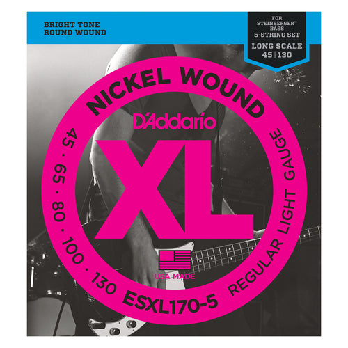 D'Addario ESXL170-5 Nickel Wound 5-String Bass Guitar Strings, Light, 45-130, Double Ball End, Long Scale