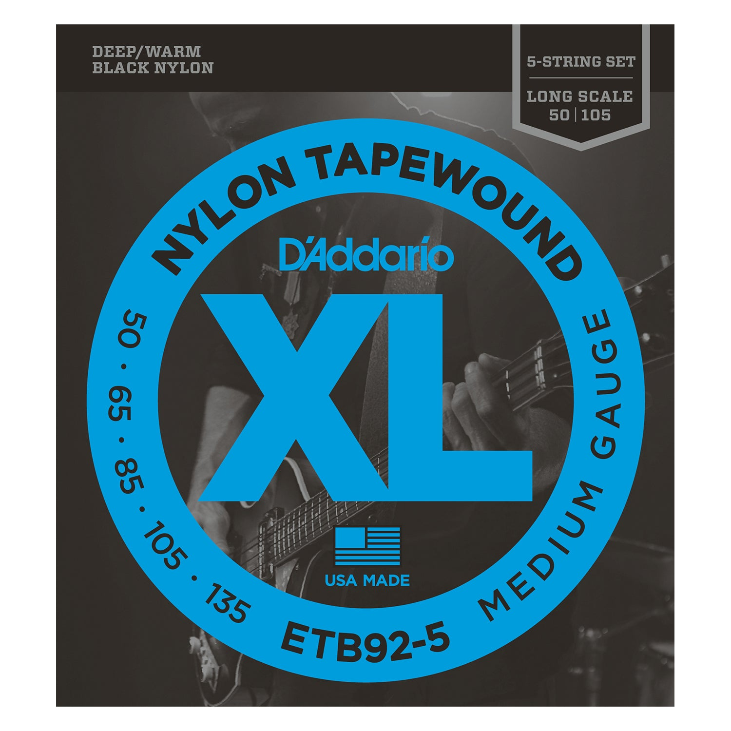 D'Addario ETB92-5 5-String Tapewound Bass Guitar Strings, Medium, 50-135, Long Scale