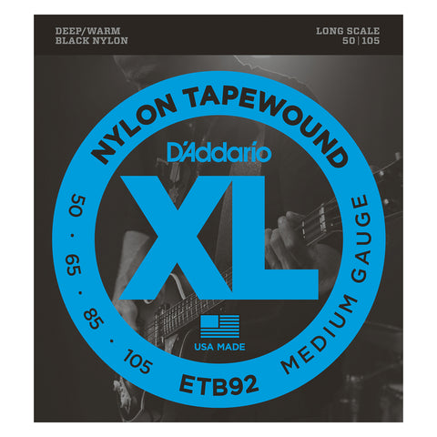 D'Addario ETB92SL Tapewound Bass Guitar Strings, Medium, 50-105, Super Long Scale