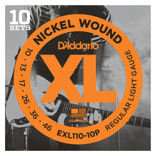 D'Addario EXL110-10P Nickel Wound Electric Guitar Strings, Regular Light, 10-46, 10 Sets