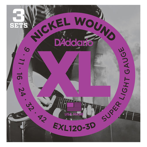 D'Addario EXL120-3D Super Light 9-42 3-Pack