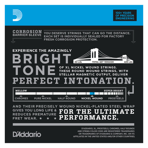 D'Addario EXL170-5TP Nickel Wound Bass Guitar Strings, Light, 45-130, 2 Sets, Long Scale