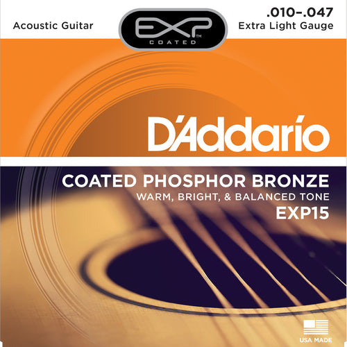 D'Addario EXP15 Coated Phosphor Bronze Acoustic Guitar Strings, Extra Light, 10-47