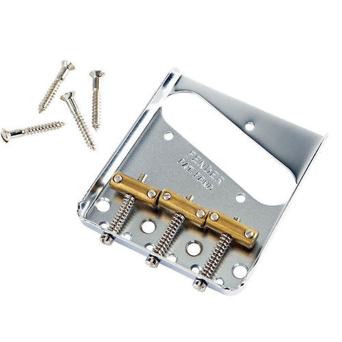 Fender (Parts) - 3-Saddle American Vintage Telecaster Bridge Assembly with Brass Saddles (Chrome)