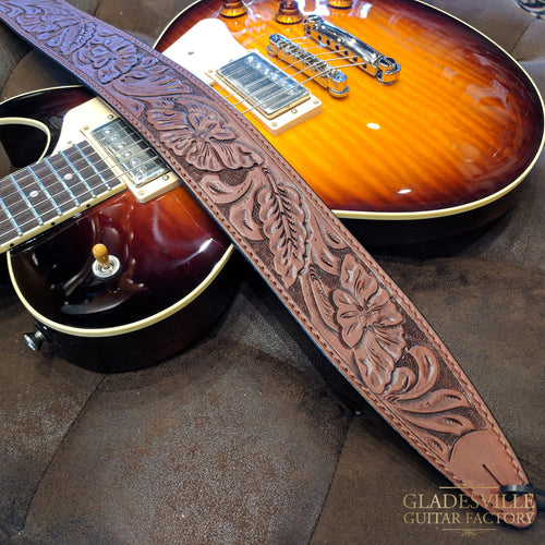 "El Dorado Durango Hand-tooled Strap 40-53"" Wild Rose - Brown"