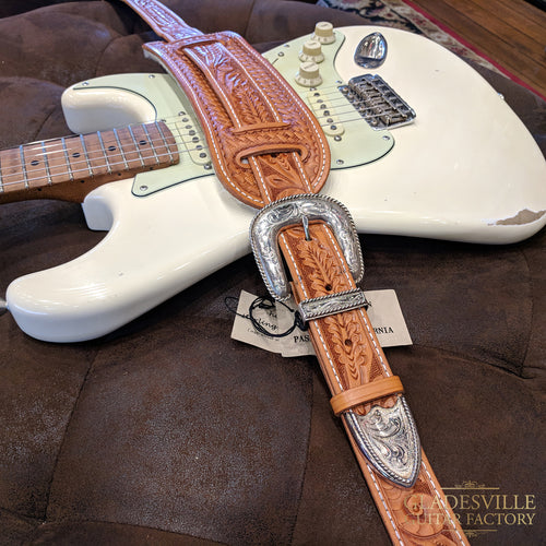 "El Dorado Original Model Hand-tooled Strap Med-Lg (45""-51"") Acorn/Oakleaf - Tan"