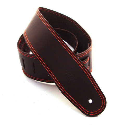 DSL 2.5'' Single Ply Saddle Brown/Orange Stitch Strap 17-5