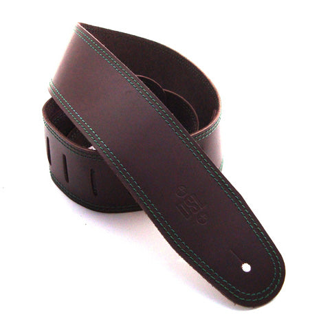 DSL 2.5'' Single Ply Saddle Brown/Green Stitch Strap 17-7