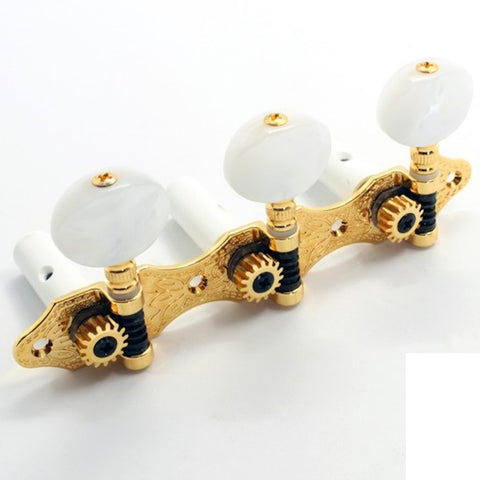 Gotoh G590 Classic Machine Head Set Coffee Swirl Oval Buttons