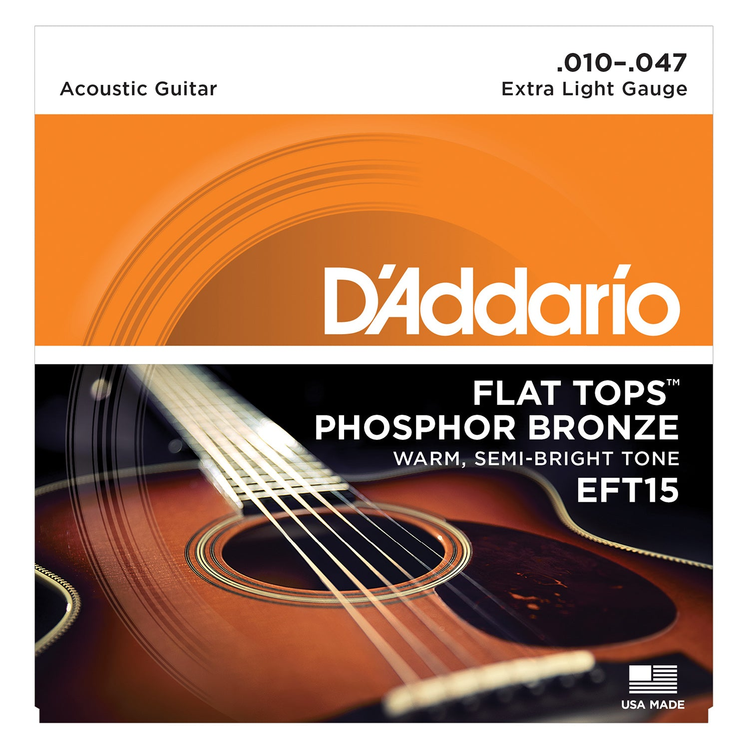 D'Addario EFT15 Flat Tops Phosphor Bronze Acoustic Guitar Strings, Extra Light, 10-47