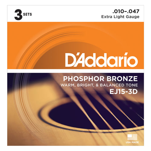 D'Addario EJ153D Phosphor Bronze, Extra Light 10-47 3xSets