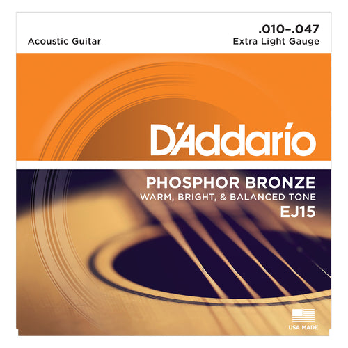 D'Addario EJ15 Phosphor Bronze, Extra Light 10-47