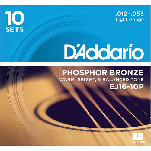 D'Addario EJ1610P Phosphor Bronze, Light 12-53 10 x Sets