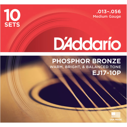 D'Addario EJ1710P Phosphor Bronze, Medium 13-56 10 x Sets