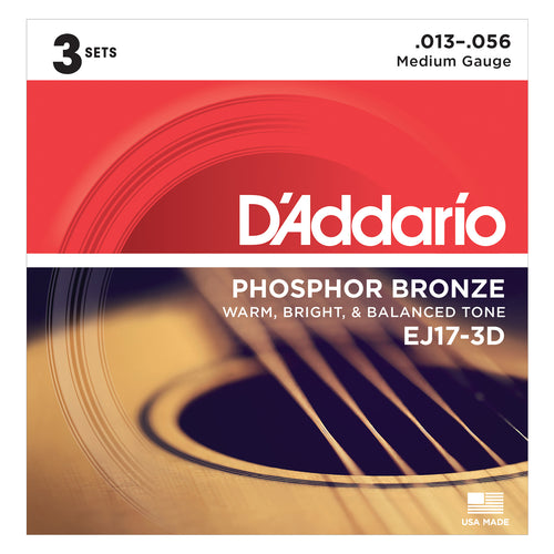D'Addario EJ173D Phosphor Bronze, Medium 13-56 3xSets