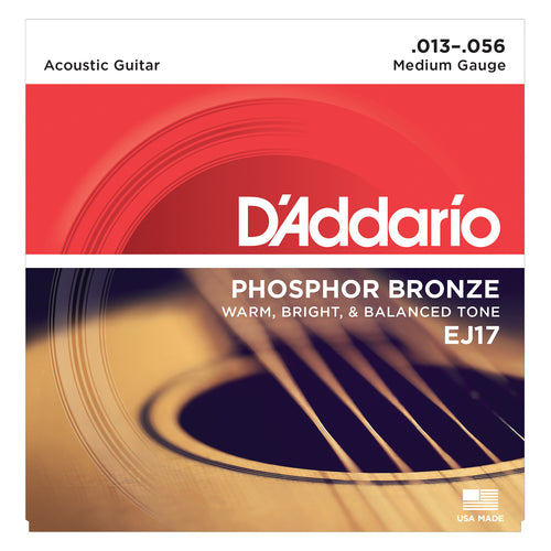 D'Addario EJ17 Phosphor Bronze, Medium, 13-56