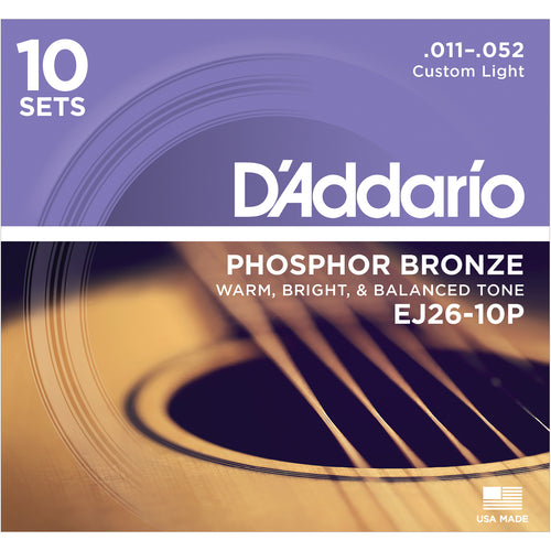 D'Addario EJ2610P Phosphor Bronze, Custom Light, 11-52 10xSets