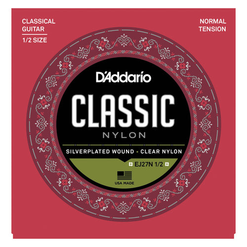 D'Addario EJ27N 1/2 Student Nylon Fractional Classical Guitar Strings, Normal Tension
