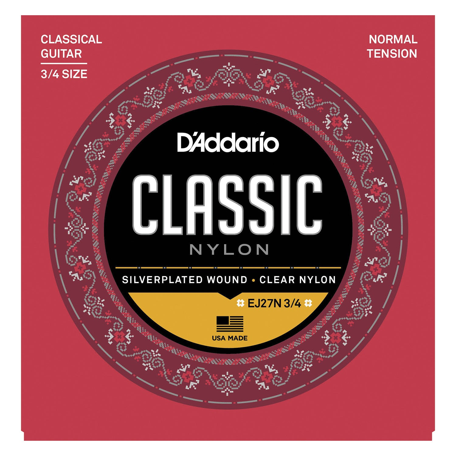 D'Addario EJ27N 3/4 Student Nylon Fractional Classical Guitar Strings, Normal Tension