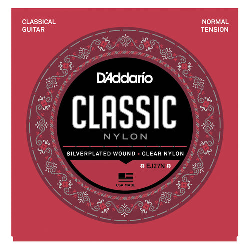 D'Addario EJ27N-3D Student Nylon Classical Guitar Strings, Normal Tension, 3 Sets