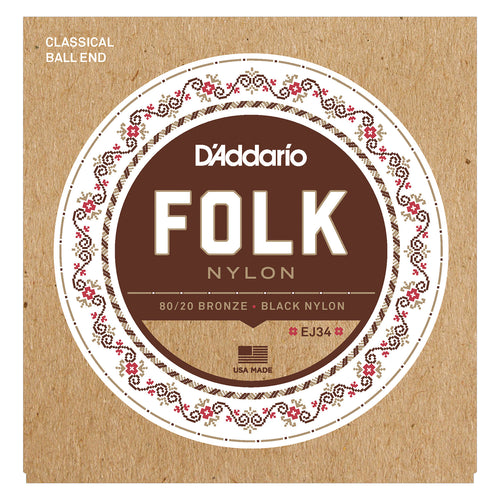 D'Addario EJ34 Folk Nylon Guitar Strings, Ball End, 80/20 Bronze/Black Nylon Trebles
